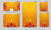 Set of poster and template design with top view of illuminated oil lamps (Diya) on yellow and orange background for Diwali celebration.