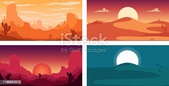 istock Set of poster template with wild desert landscape. Design element for banner, flyer, card. Vector illustration 1198554315