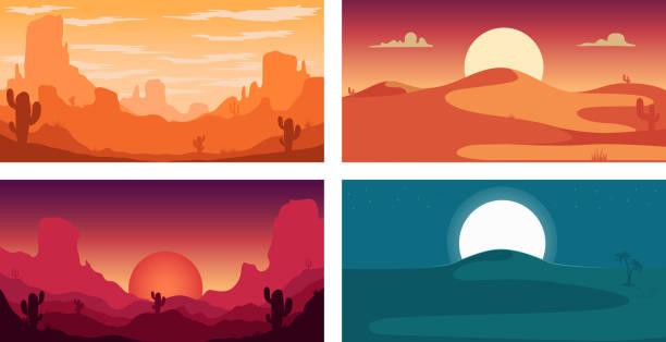 set von poster-vorlage mit wilden wüste landschaft. design-element für banner, flyer, karte. vektor-illustration - wüste stock-grafiken, -clipart, -cartoons und -symbole