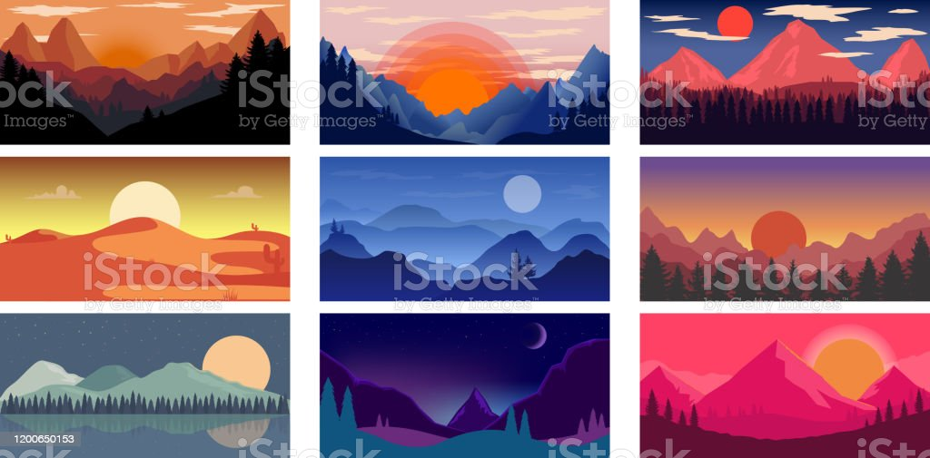 Set of poster template with wild mountains and desert landscape. Design element for banner, flyer, card. Vector illustration - Royalty-free Ao Ar Livre arte vetorial
