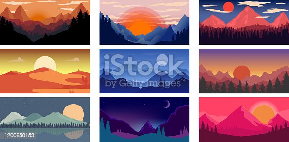 Set of poster template with wild mountains and desert landscape. Design element for banner, flyer, card. Vector illustration