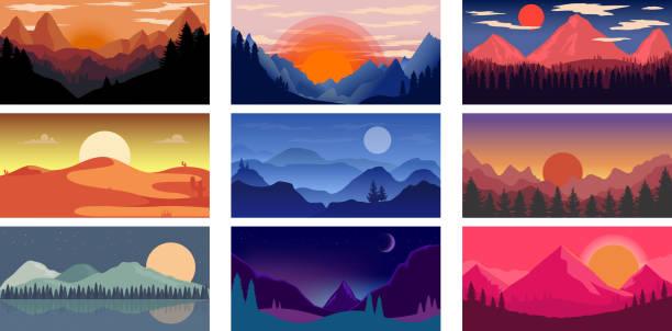 ilustrações, clipart, desenhos animados e ícones de conjunto de modelo de pôster com montanhas selvagens e paisagem do deserto. elemento de design para banner, flyer, cartão. ilustração do vetor - exterior
