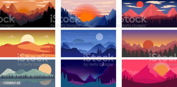 Set Of Poster Template With Wild Mountains And Desert Landscape Design Element For Banner Flyer Card Vector Illustration - Arte vetorial de stock e mais imagens de Ao Ar Livre