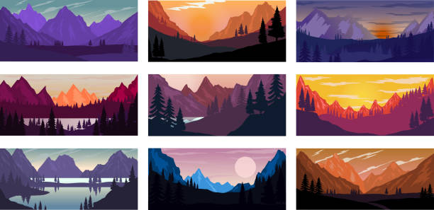 Set of poster template with wild mountains landscape. Design element for banner, flyer, card. Vector illustration Set of poster template with wild mountains landscape. Design element for banner, flyer, card. Vector illustration mountains stock illustrations