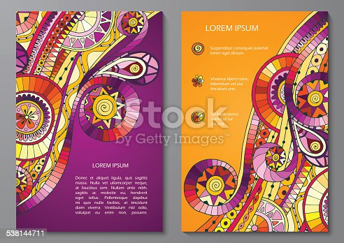 Set of Vector Poster Templates with original drawing tribal doddle ethnic pattern. Abstract Background for Business Flyers, Posters and Placards.  Background with hand drawn doodle geometric elements.