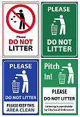 istock Set of posters and sticker signs with a call please do not litter, keep area clean 1094367160