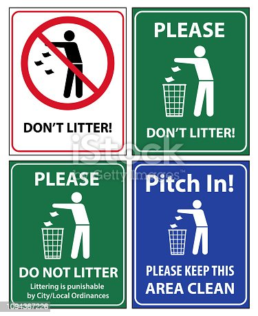 istock Set of posters and sticker signs with a call please do not litter, keep area clean 1094367226