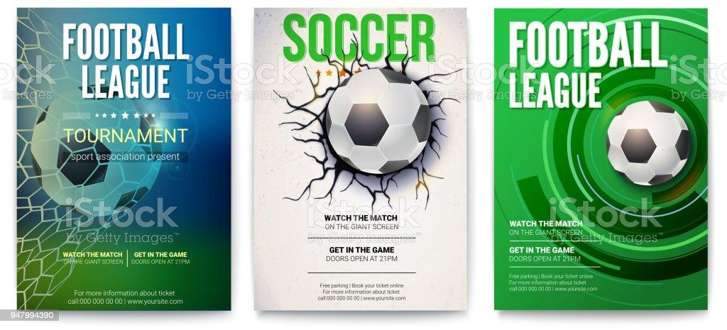 Set Of Posters Of Football Tournament Or Soccer League Graphics Design With Ball Design Of Banner For Sport Events Template Of Advertising For Championship Of Soccer Or Football 3d Illustration Stock Illustration