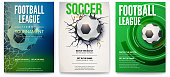 Set of posters of football tournament or soccer league. Graphics design with ball. Design of banner for sport events. Template of advertising for championship of soccer or football, 3D illustration