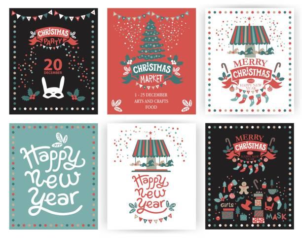 eine reihe von postern oder postkarten weihnachtsmarkt, frohes neues jahr und weihnachten mit festlicher dekoration, girlanden, geschenke, ein karussell mit pferden, weihnachtsgebäck, weihnachtsbäume, socken, geschenke, masken - weihnachtsmarkt stock-grafiken, -clipart, -cartoons und -symbole