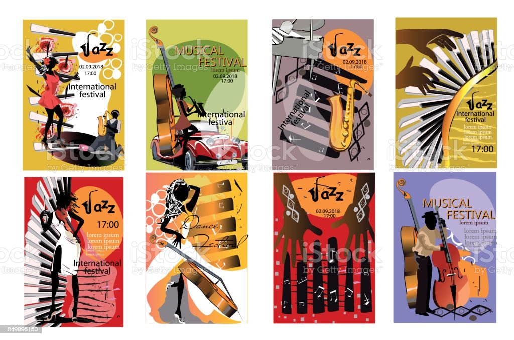 Set of  posters with musicians and musical instruments.