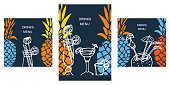 Vector illustration with bright multicolor pineapples and white doodles cocktails on black background. Great for templates for bar cocktail menu. A4 and social media square format. et og posters.