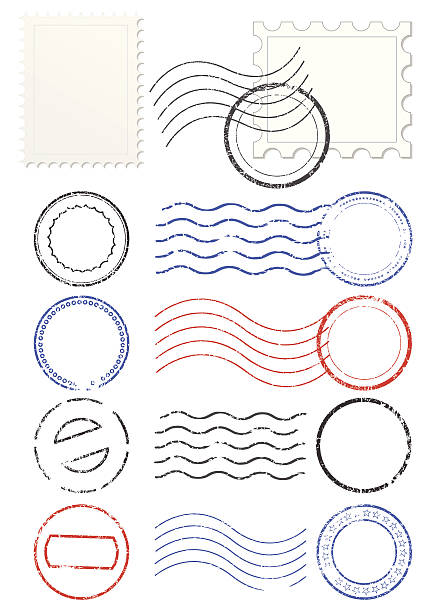 Set of postmarks and stamps Vector set of stamps and postmarks. All vector objects are isolated. Colors and transparent background color are easy to adjust. postmark stock illustrations