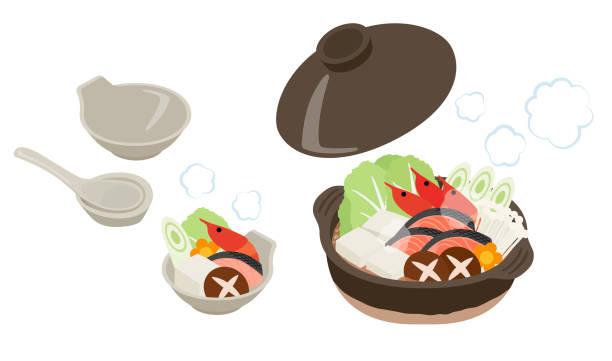 鍋料理のセット - 鍋点のイラスト素材/クリップアート素材/マンガ素材/アイコン素材