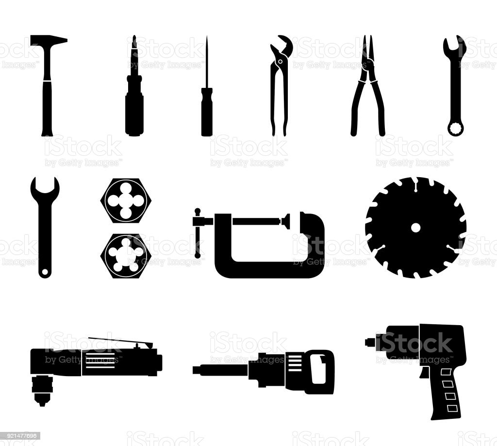 Set of power and hand tools. Vector icons vector art illustration