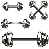 istock Set of powerlifting barbells isolated on white background. Design element for label, badge, sign. Vector illustration 1180738401