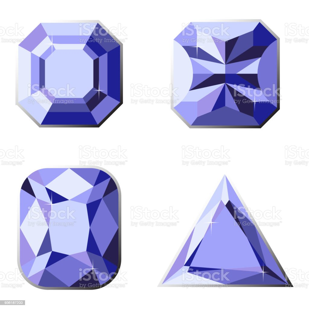 Set Of Precious Stones With Different Types Of Cut Stock Vector Art