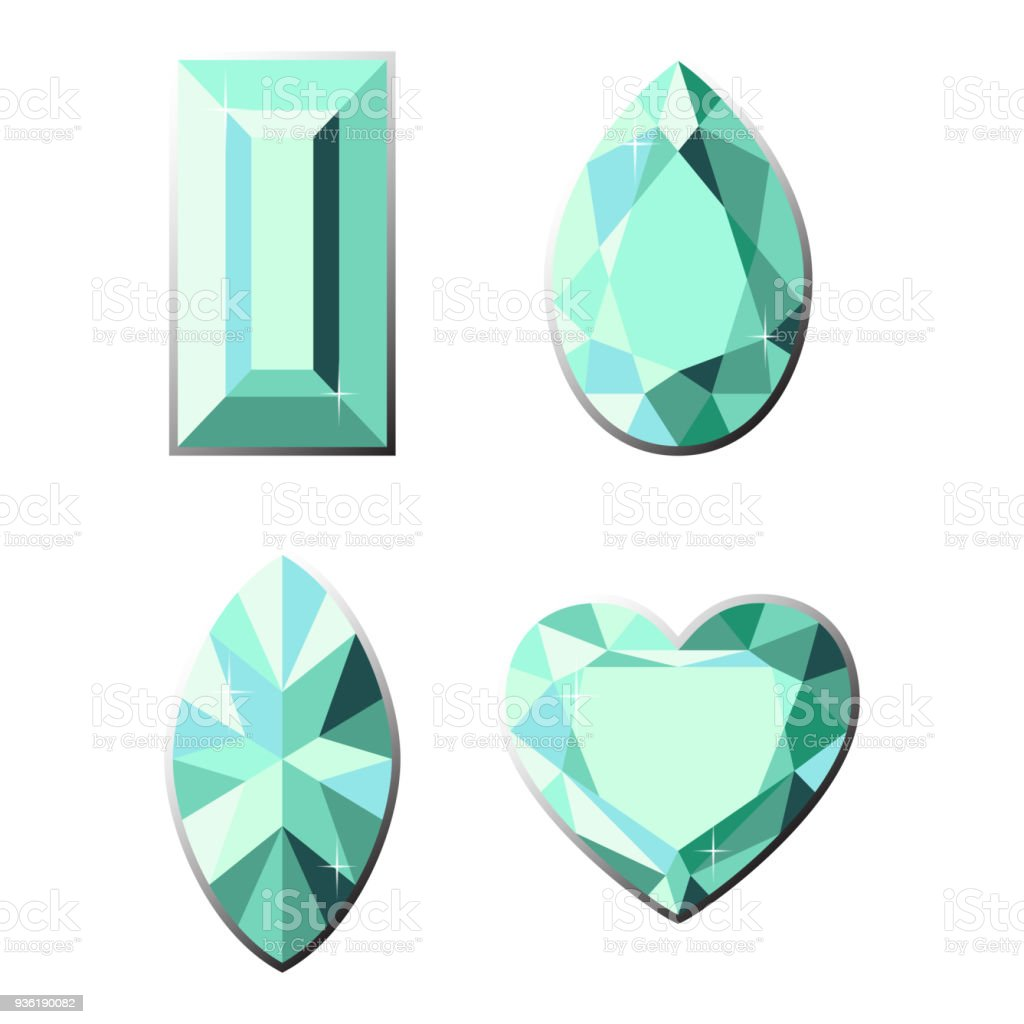 Set Of Precious Stones With Different Types Of Cut Stock Vector ...
