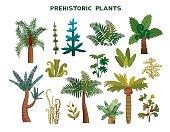 Set of prehistoric plants