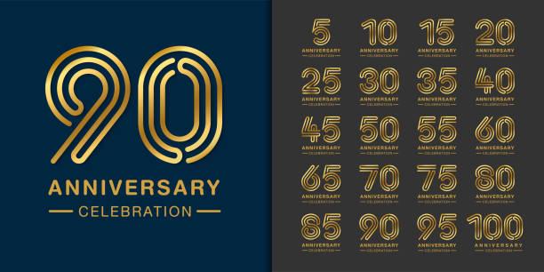 bildbanksillustrationer, clip art samt tecknat material och ikoner med uppsättning premium jubileums logo typ. golden anniversary firande emblem design för företags profil, häfte, broschyr, magasin, broschyr, webb, banner, inbjudan eller gratulations kort. - talet 50
