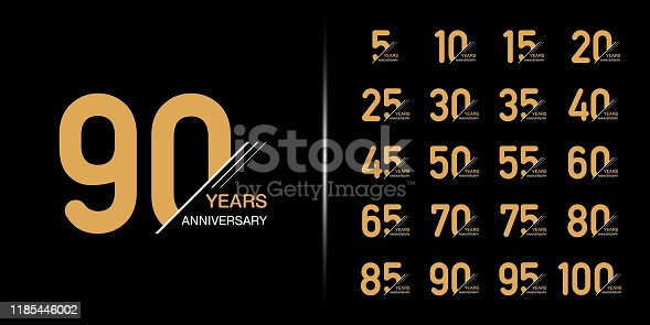 Set of premium anniversary logotype. Golden anniversary celebration emblem design for company profile, leaflet, magazine, brochure, web, banner, invitation or greeting card.