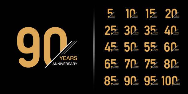 bildbanksillustrationer, clip art samt tecknat material och ikoner med uppsättning premium anniversary logotyp. guld jubileums firande emblem design. - årsdag