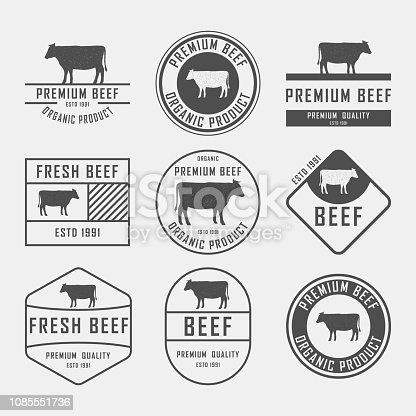 Set of premium beef labels, badges and design elements. Vector Illustration