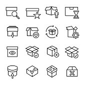 Set of premium box icons in line style. High quality outline symbol collection of package. Modern linear pictogram pack of period. Stroke vector illustration on a white background.