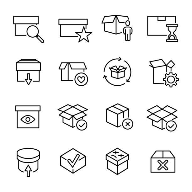 線のスタイルのプレミアム ボックスのアイコンのセット - シンプルな暮らし点のイラスト素材/クリップアート素材/マンガ素材/アイコン素材