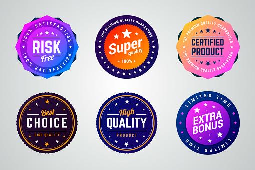 Set of premium colorful gradient vector badges.