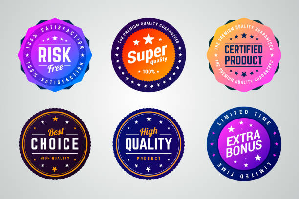 illustrazioni stock, clip art, cartoni animati e icone di tendenza di set of premium colorful gradient vector badges. - bonus