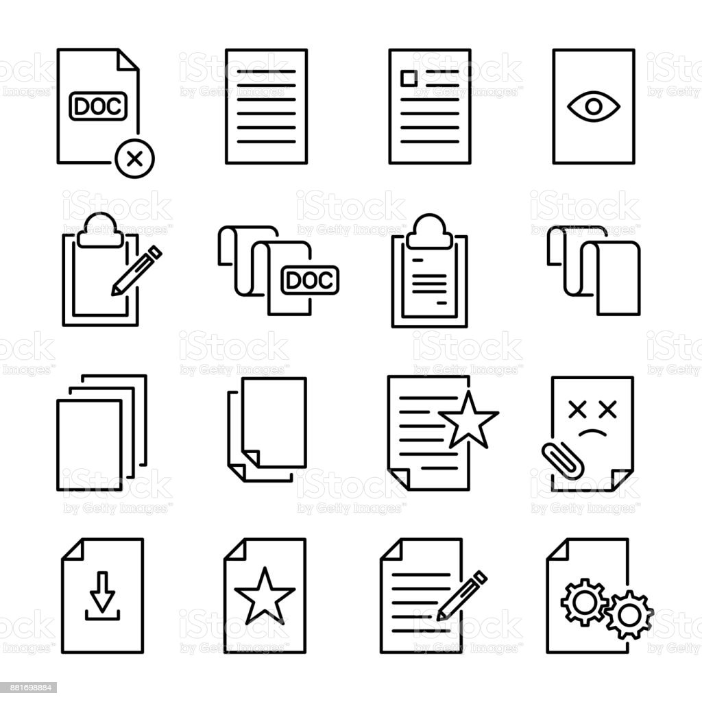 Set of premium document icons in line style. vector art illustration