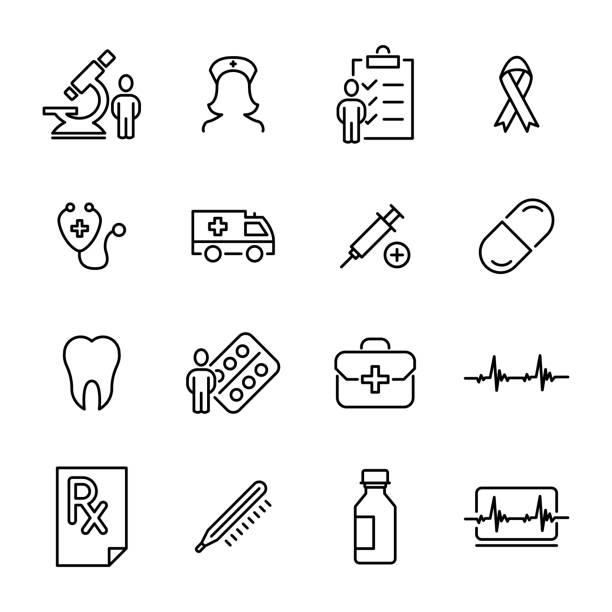 ilustrações, clipart, desenhos animados e ícones de conjunto de ícones de saúde de prémio em estilo de linha. - consultório médico