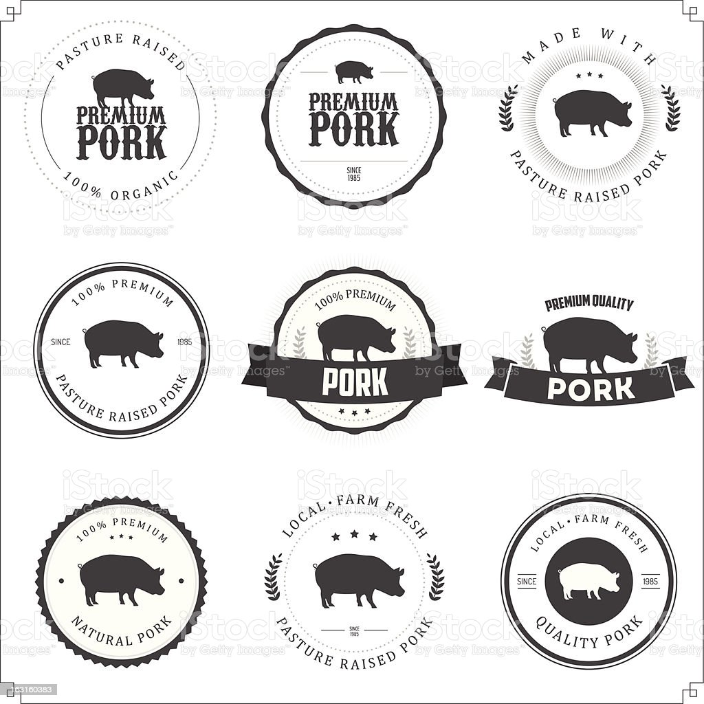 Set of premium pork labels vector art illustration