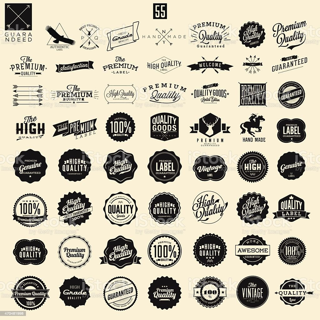 Set of premium quality and guarantee labels vector art illustration