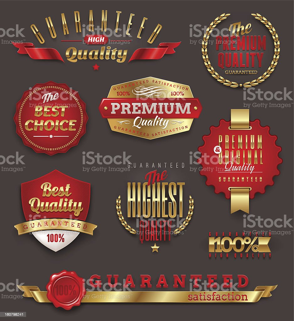 Set of premium quality and Guaranteed golden labels royalty-free stock vector art