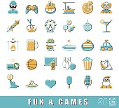 Set of premium quality flat line fun and games icons.