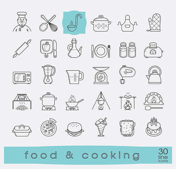 stockillustraties, clipart, cartoons en iconen met set of premium quality food and cooking icons. - oil kitchen