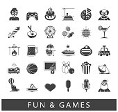 Set of premium quality fun and games icons