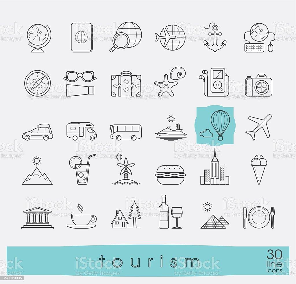 Set of premium quality line tourism icons. vector art illustration