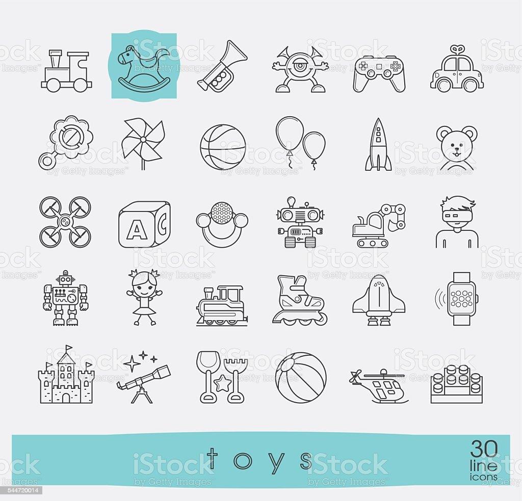 Conjunto de ícones de qualidade prêmio da linha de brinquedo. - ilustração de arte em vetor