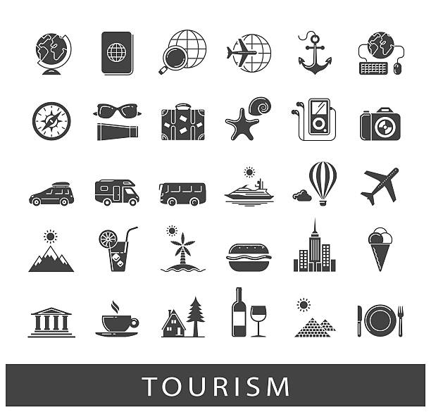 set of premium quality tourism icons - wochenendreisen stock-grafiken, -clipart, -cartoons und -symbole