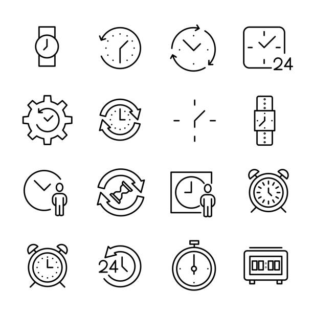 Set of premium time icons in line style Set of premium time icons in line style. High quality outline symbol collection of clock. Modern linear pictogram pack of period. Stroke vector illustration on a white background. waiting stock illustrations