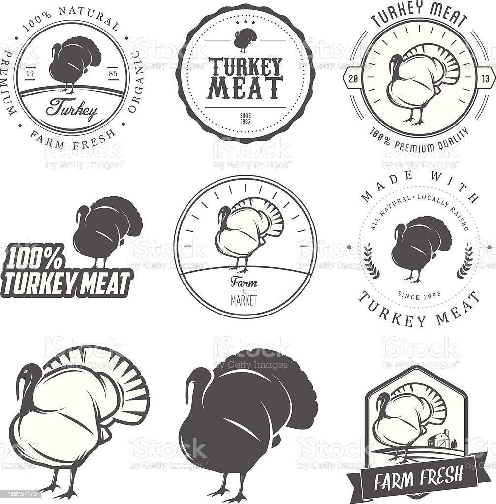 Set of premium turkey meat labels and stamps vector art illustration