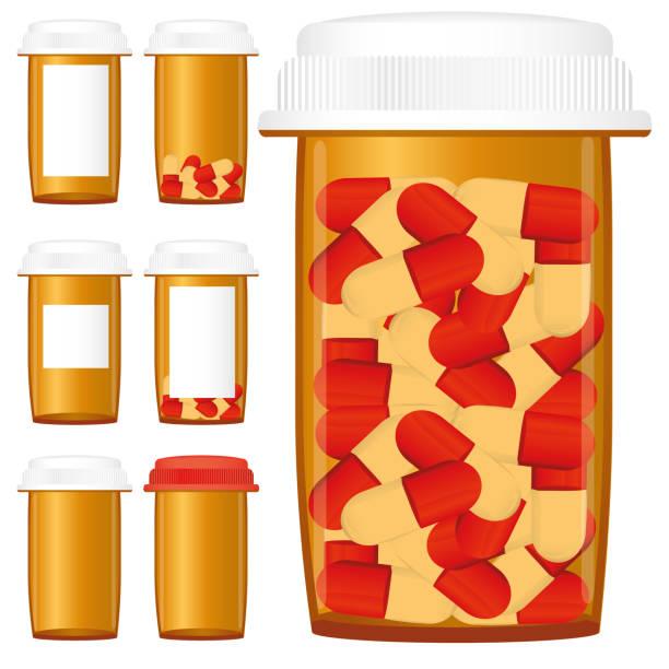 Set of prescription medicine bottles vector art illustration