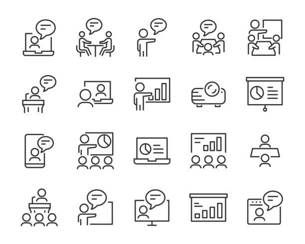 stockillustraties, clipart, cartoons en iconen met reeks presentatie pictogrammen, vergadering, seminar, teamwork, training, presentatie - youtube