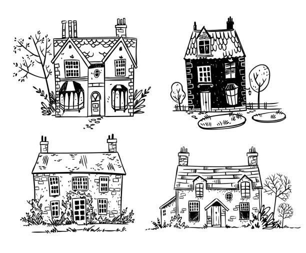 Set of pretty English cottages, vector drawing Set of pretty English cottages, vector drawing porch stock illustrations