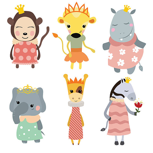 set of princess animals. - giraffenkostüm stock-grafiken, -clipart, -cartoons und -symbole
