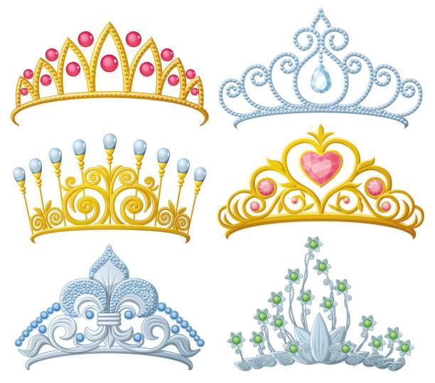 Set of princess crowns Tiara isolated Set of princess crowns Tiara isolated on white. Vector illustration. diademe stock illustrations