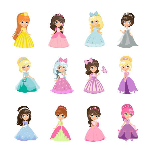 illustrazioni stock, clip art, cartoni animati e icone di tendenza di set of princesses in evening gowns isolated vector - principessa